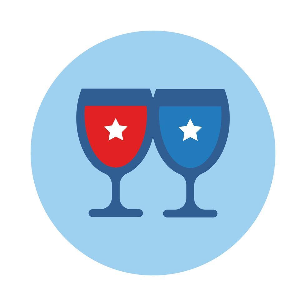tasses avec style de bloc étoiles pour le jour de l'indépendance vecteur