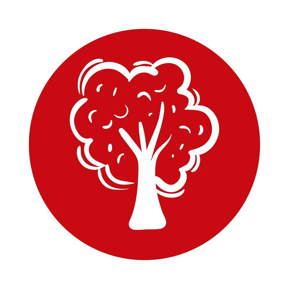 icône de style de bloc arbre plante vecteur