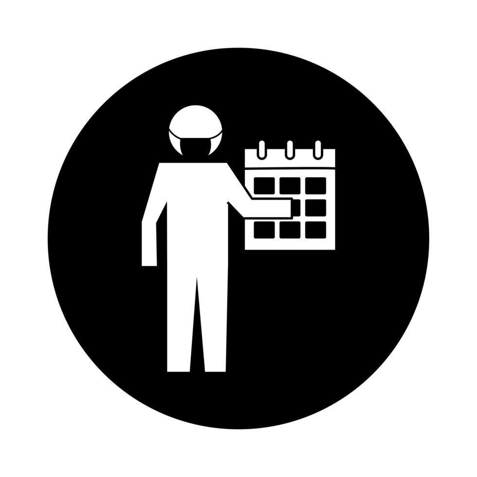 figure utilisant un masque facial avec style de bloc de pictogramme de santé calendrier vecteur