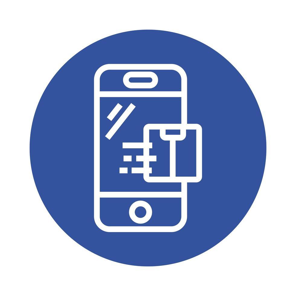 boîte dans le style de bloc de service de livraison de smartphone vecteur
