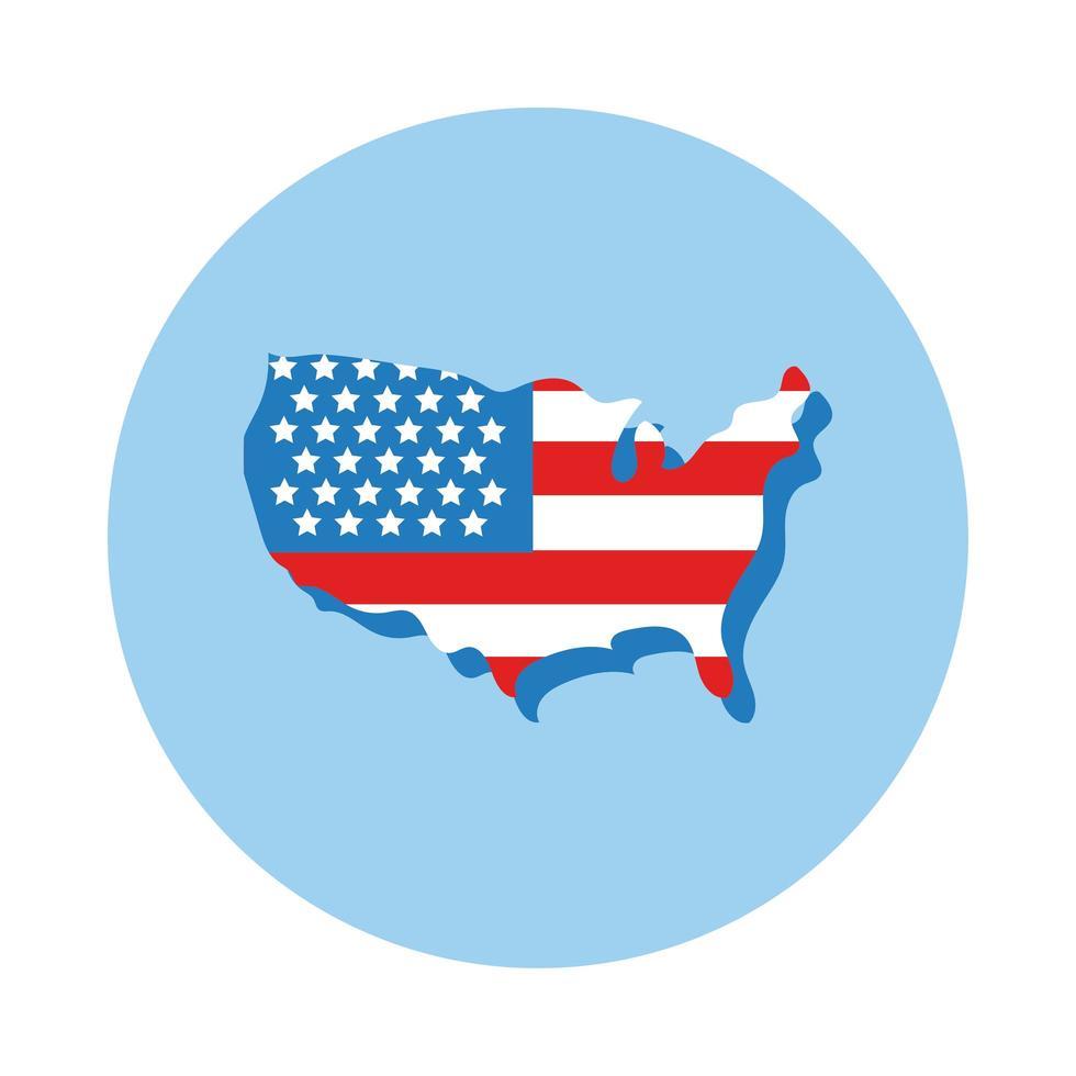 carte des États-Unis avec style de bloc de drapeau vecteur
