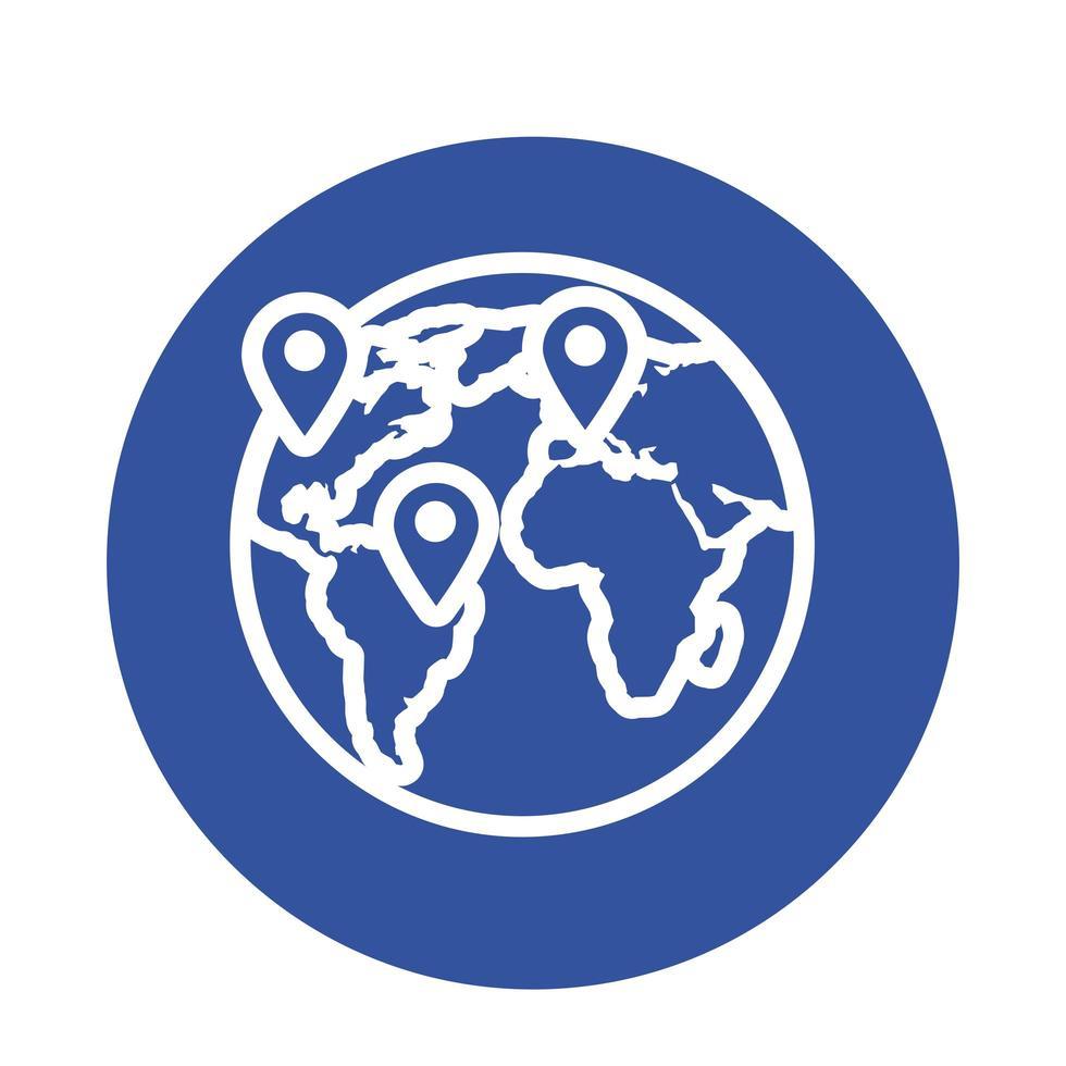 icône de style de bloc de planète terre vecteur