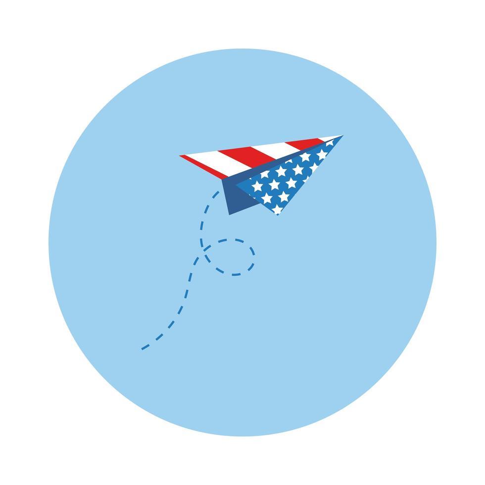 avion en papier avec style de bloc de drapeau usa vecteur