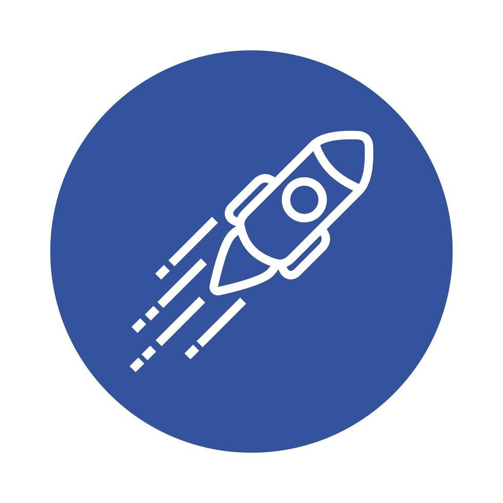 icône de style de bloc de démarrage de fusée vecteur