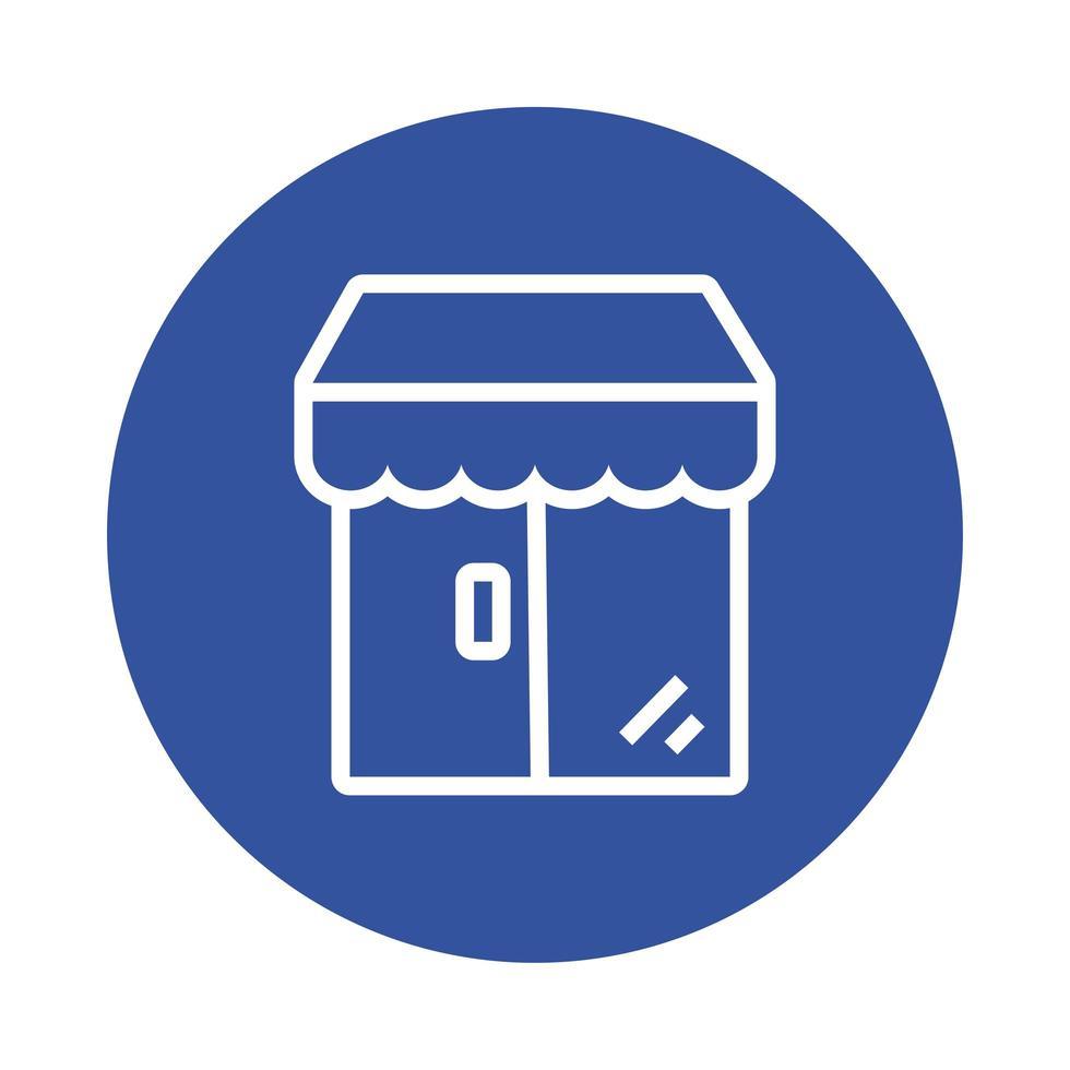bâtiment de magasin avec icône de style de bloc de parasol vecteur