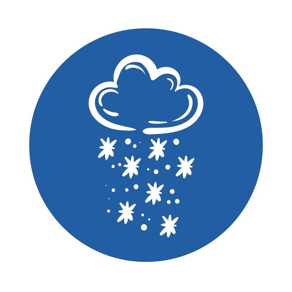 nuage avec icône de style bloc de flocons de neige vecteur