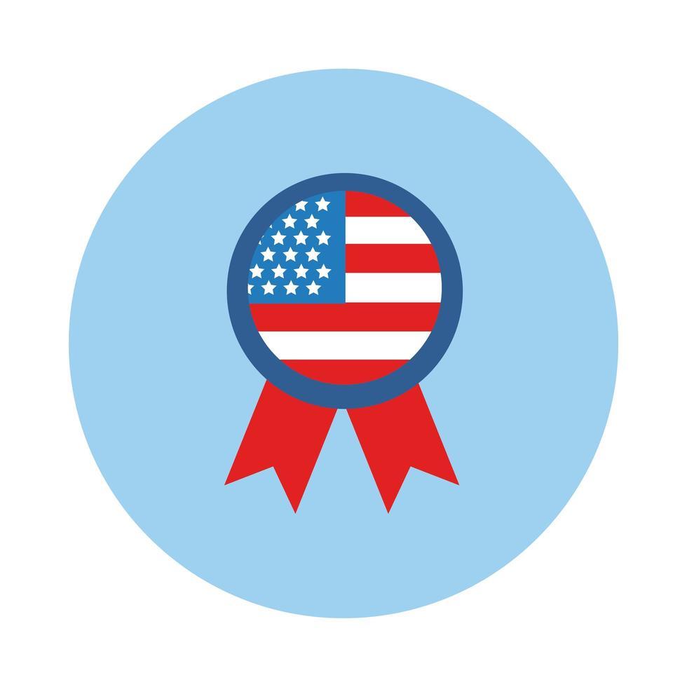 médaille avec icône de style bloc drapeau usa vecteur