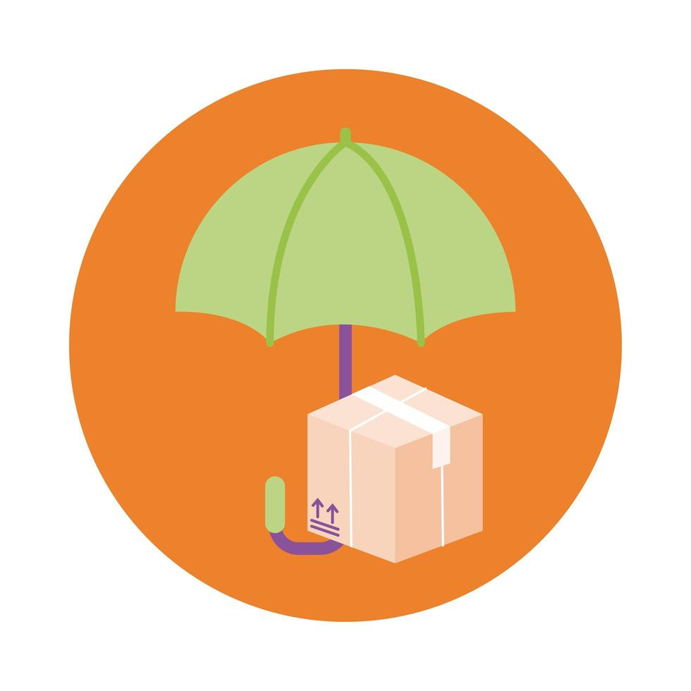 parapluie avec style de bloc de service de livraison de boîte vecteur