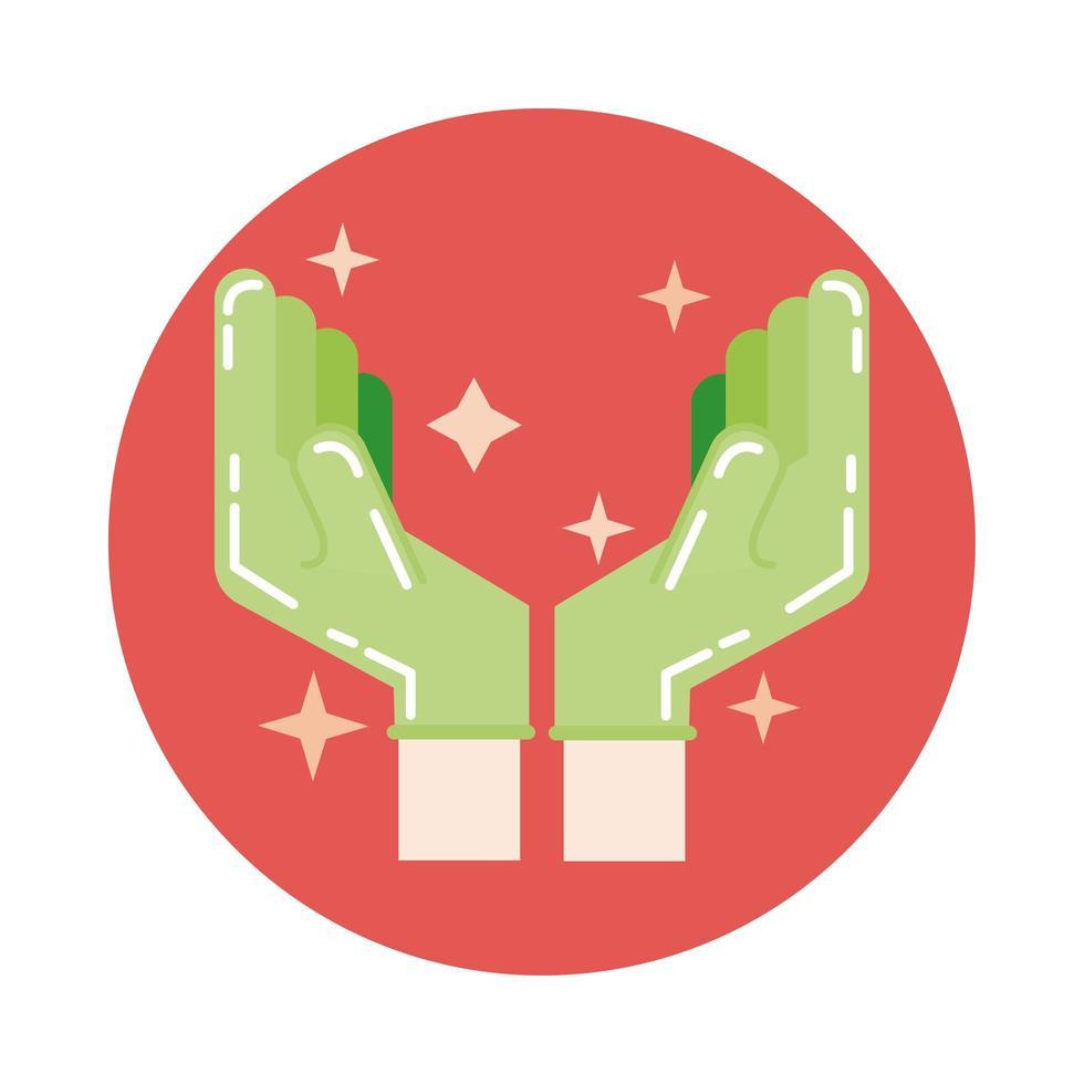 icône de style de bloc de nettoyage des mains vecteur