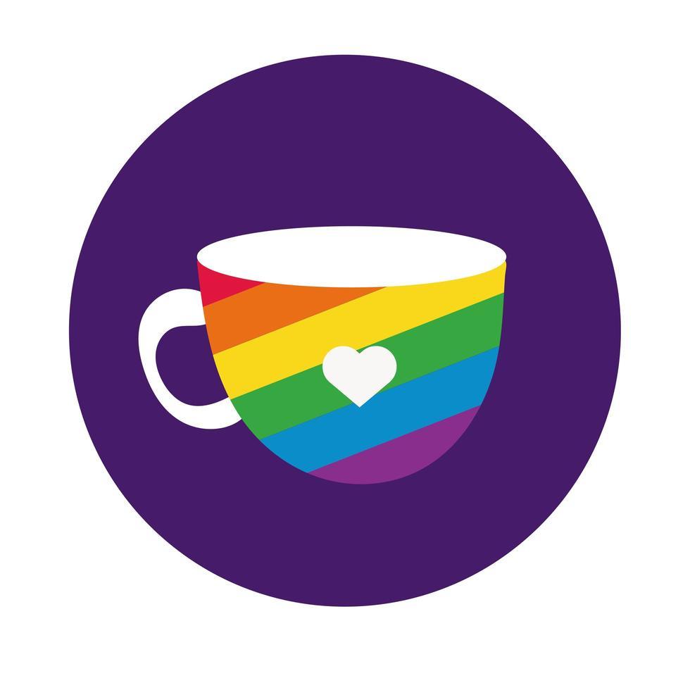 tasse avec style de bloc de drapeau de fierté gay vecteur