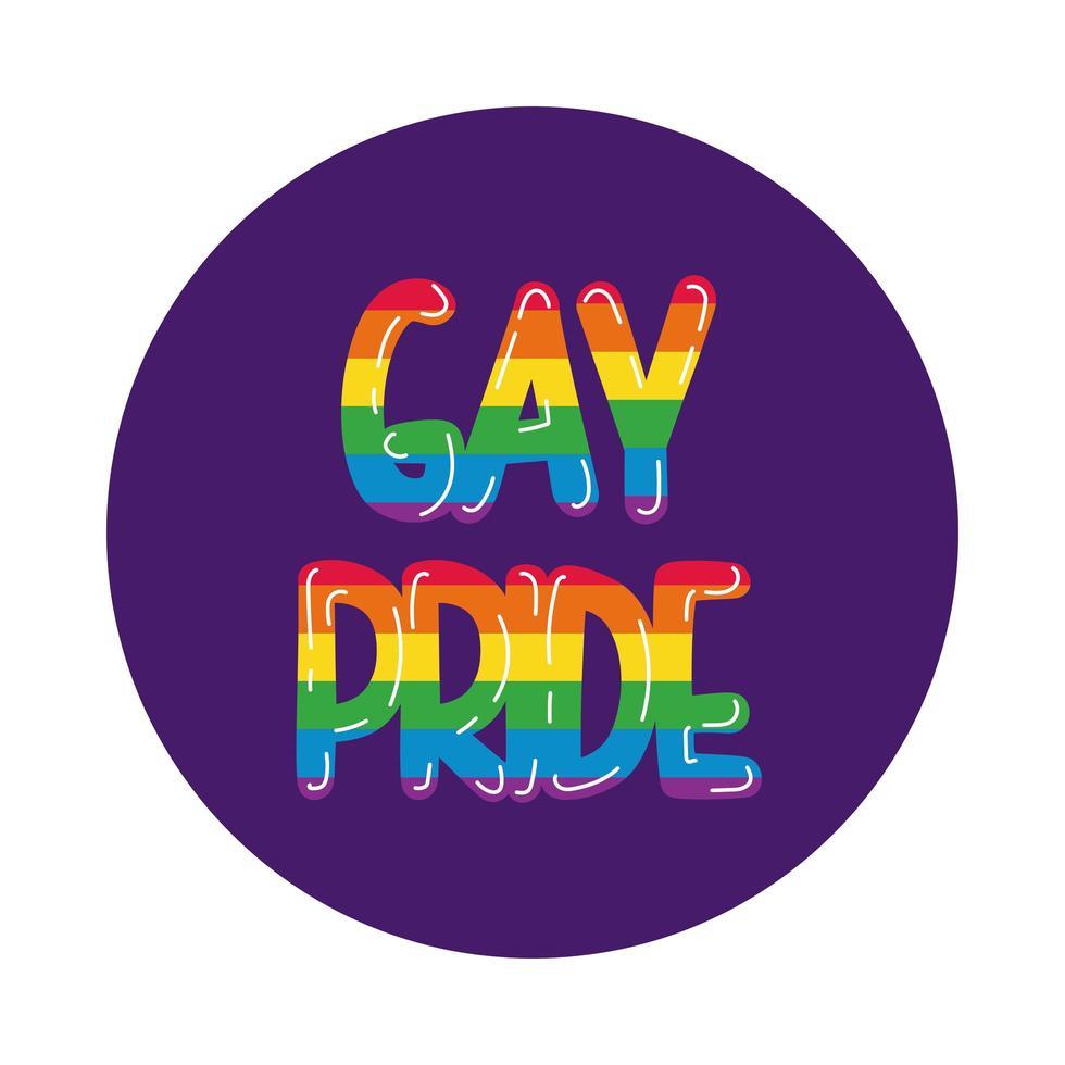 style de bloc de lettrage de fierté gay vecteur