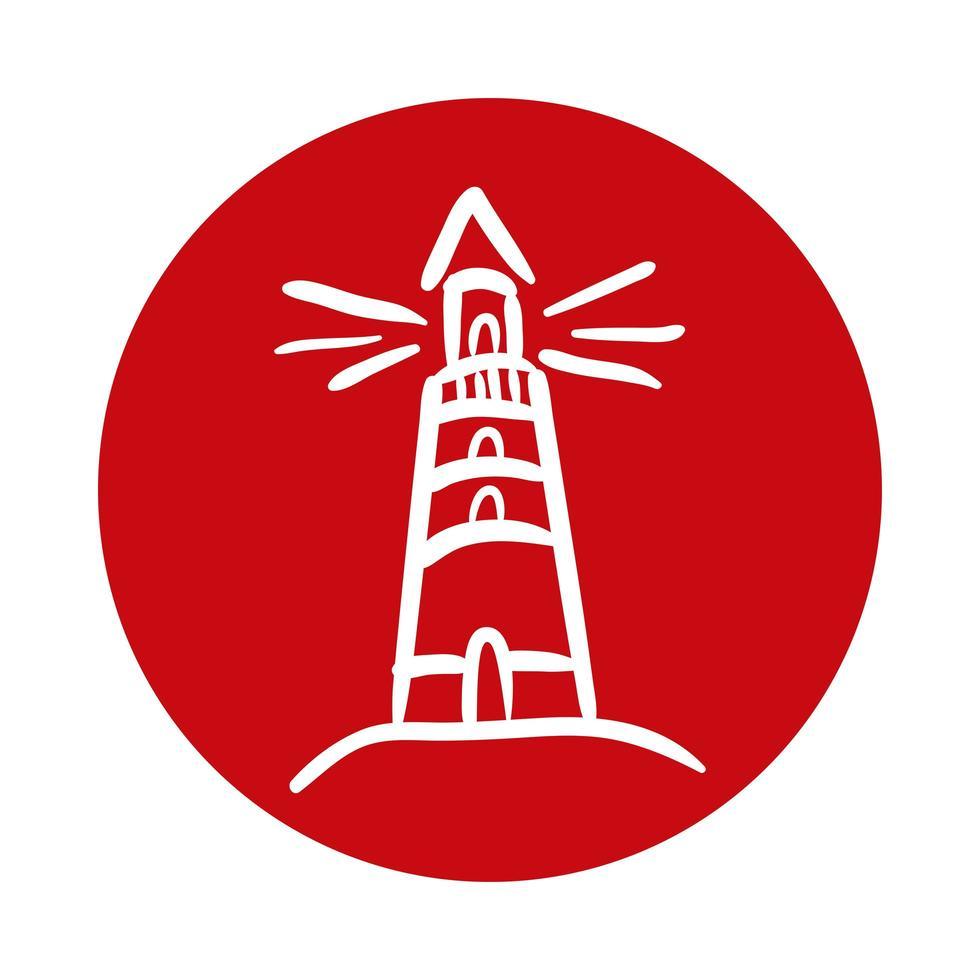 icône de style de bloc maritime phare vecteur