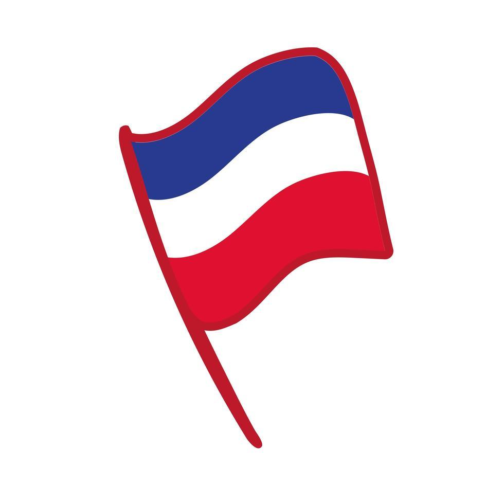 drapeau france main dessiner icône de style vecteur