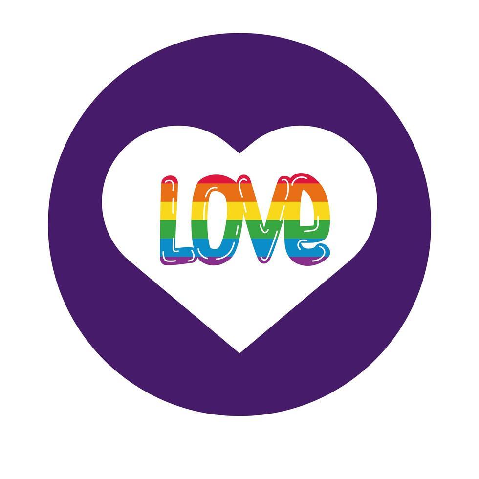 coeur avec style de bloc de fierté gay mot d'amour vecteur