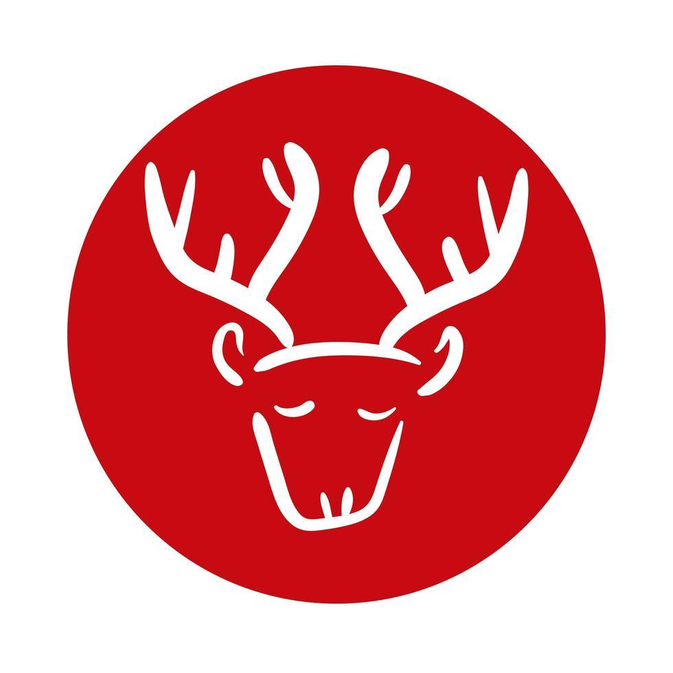 icône de style bloc animal renne vecteur