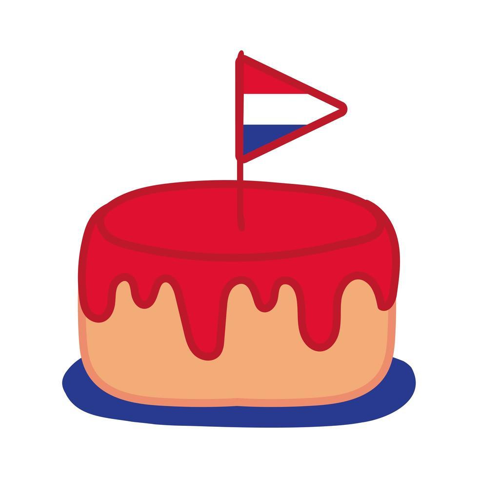 drapeau de la france en icône de style dessiner main gâteau vecteur