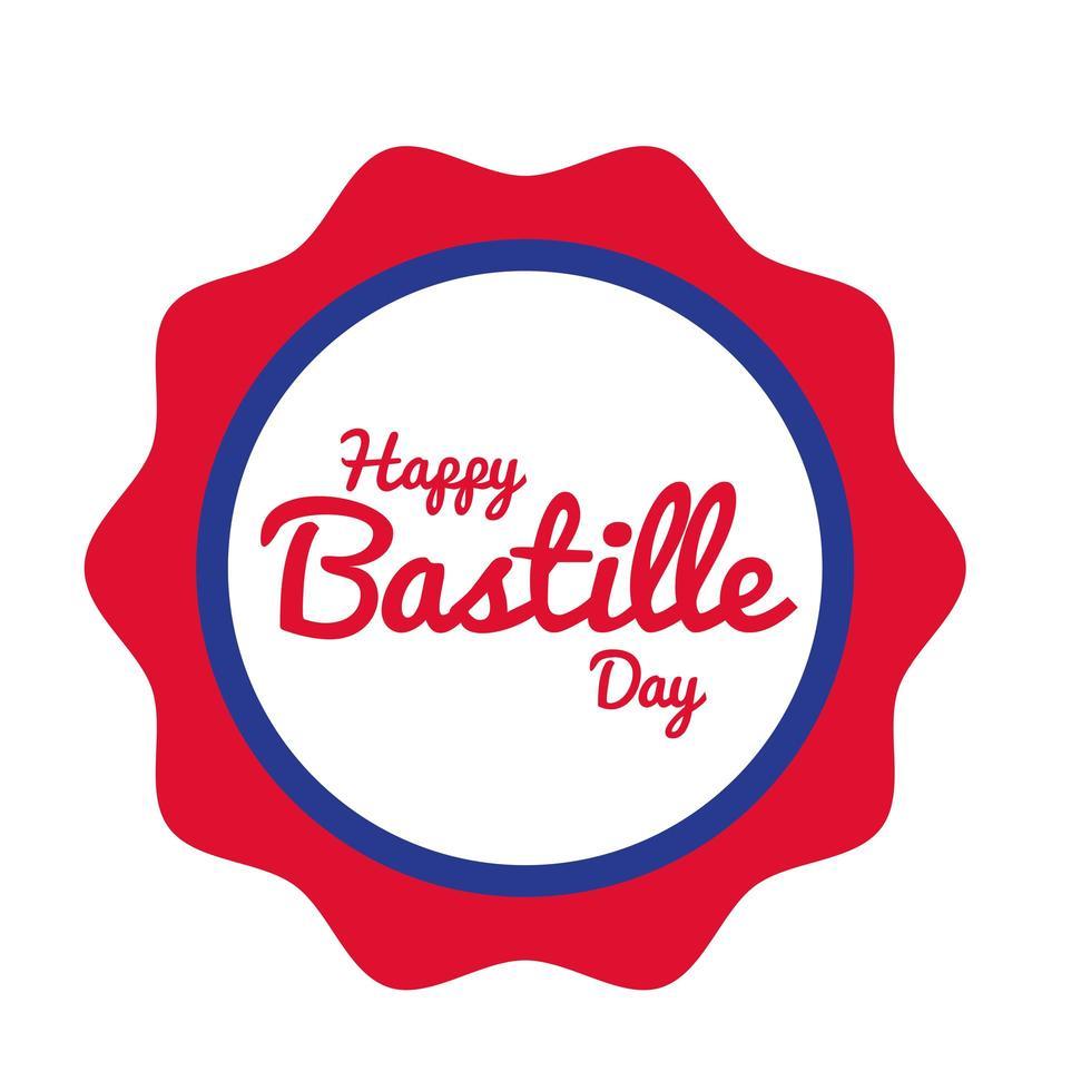 lettrage du jour de la bastille dans le style de dessin de main de sceau vecteur
