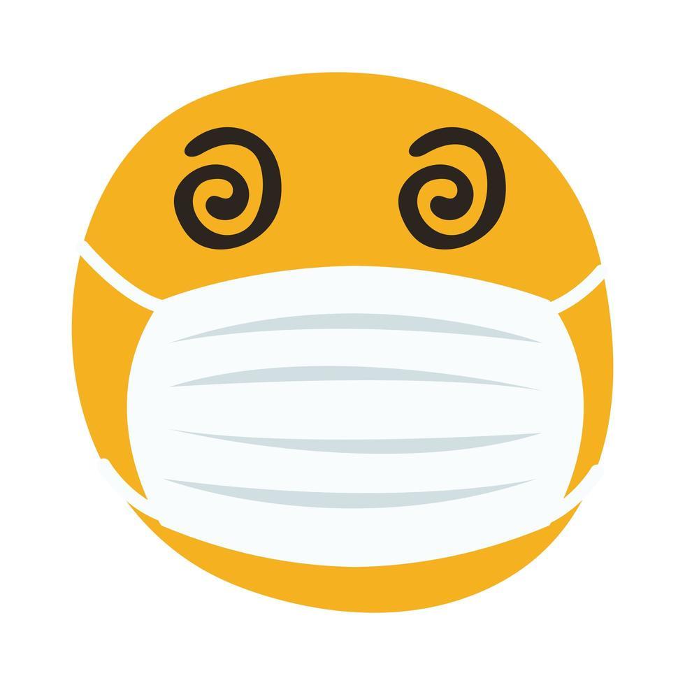 emoji fou portant un masque médical style de dessin à la main vecteur