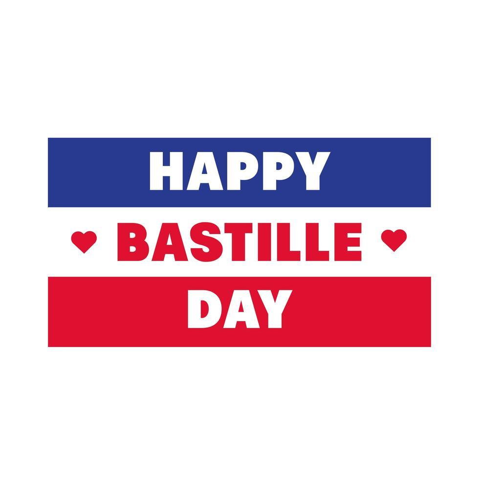 lettrage du jour de la bastille avec style de tirage au drapeau vecteur
