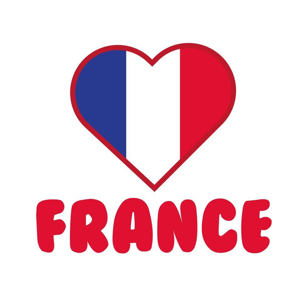 coeur avec drapeau france main dessiner icône de style vecteur