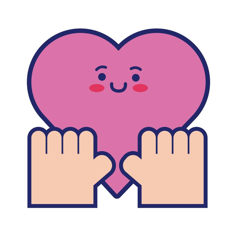 style de ligne coeur cardio kawaii vecteur