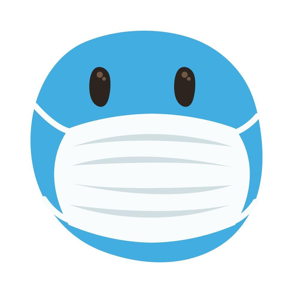 emoji congelé portant un style de dessin à la main de masque médical vecteur