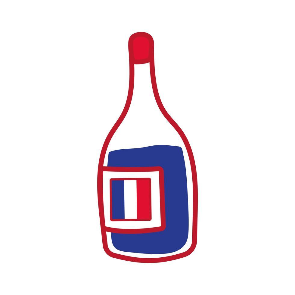 bouteille de vin main dessiner icône vecteur