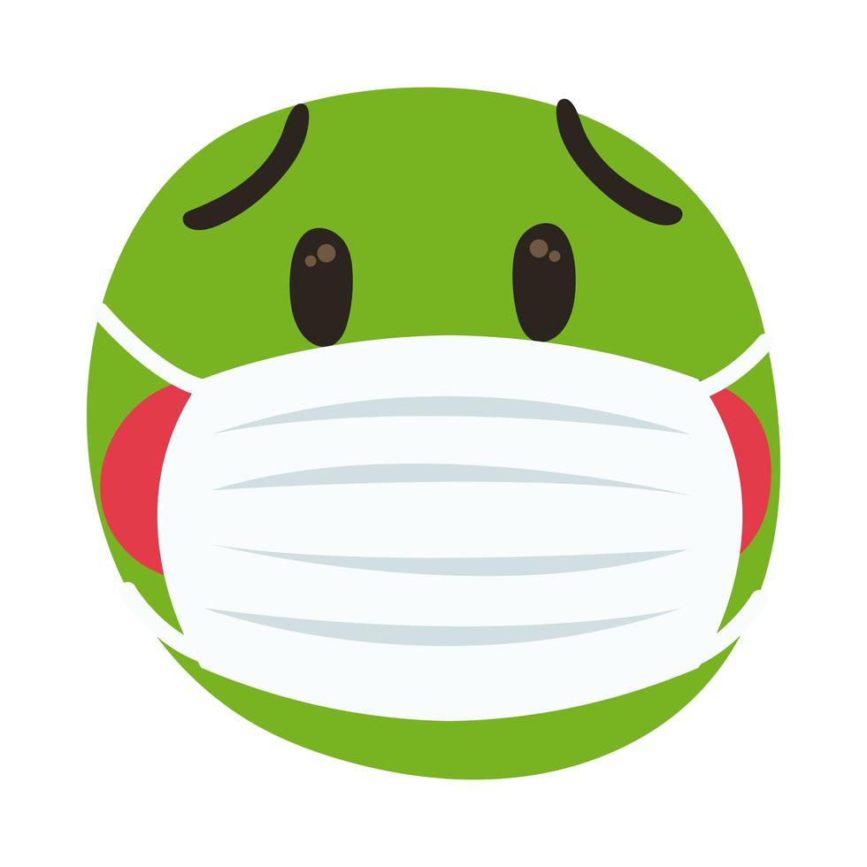 emoji malade portant un masque médical style de dessin à la main vecteur