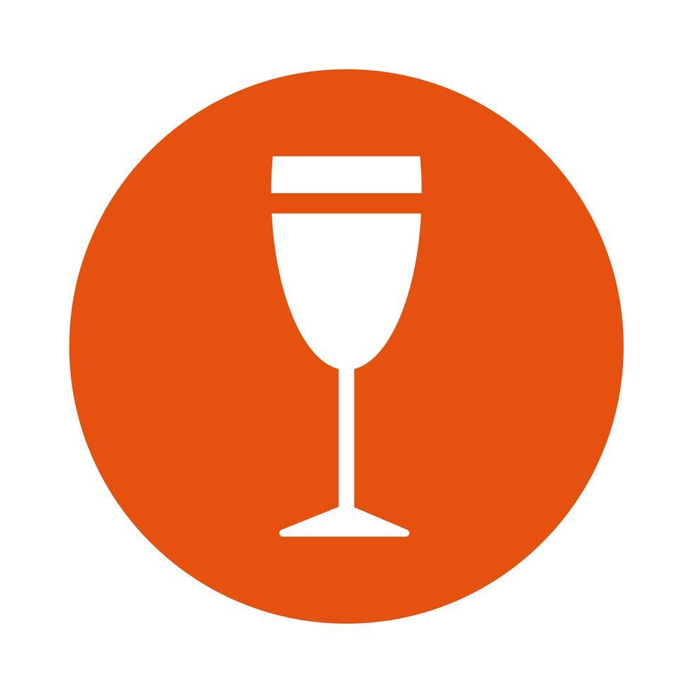 icône de style de bloc de boisson tasse de vin vecteur