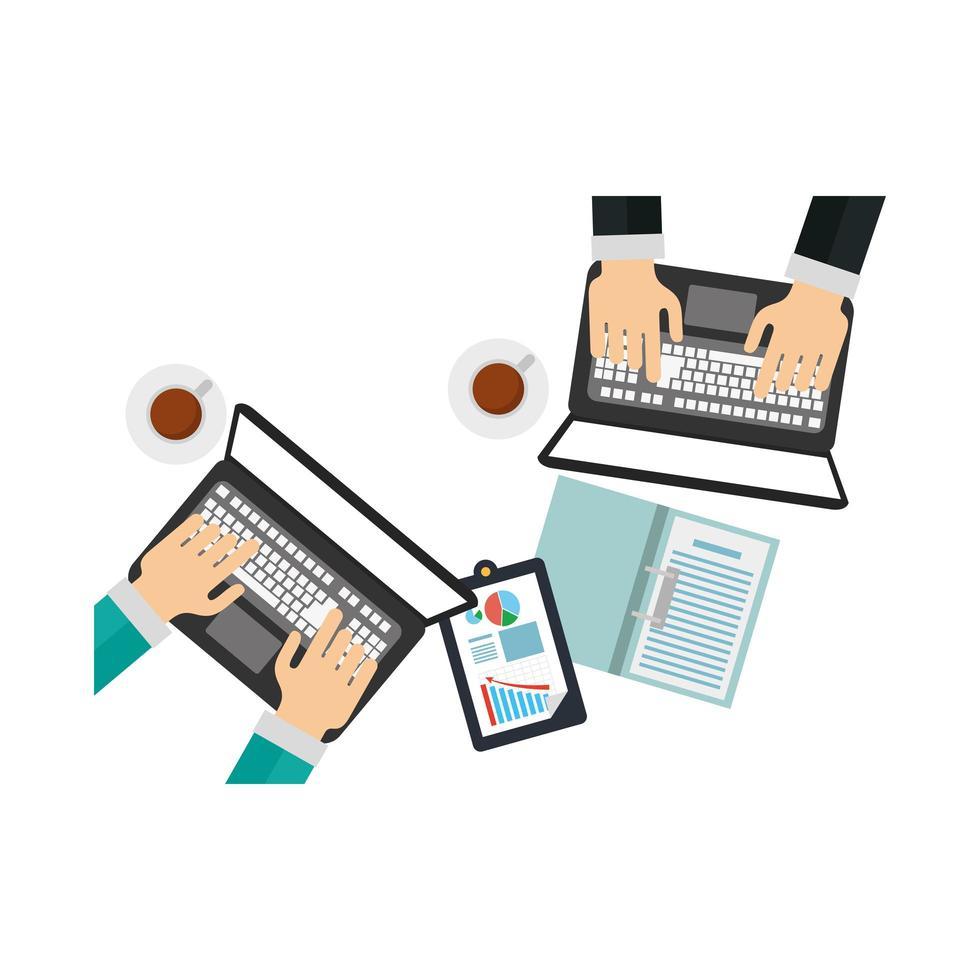 mains sur les ordinateurs portables et document avec la conception de vecteur infographique