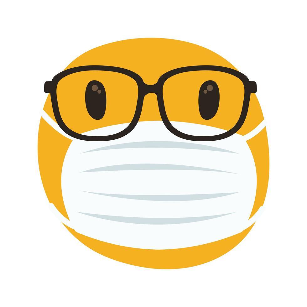 emoji portant un masque médical et des lunettes de style dessiner à la main vecteur