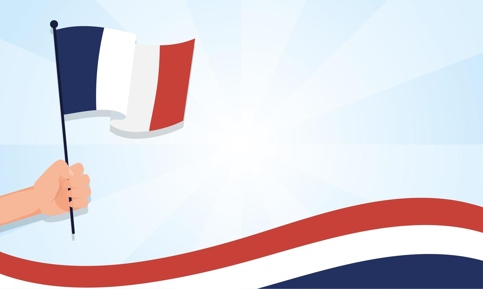 main tenant le drapeau de la france pour la conception de vecteur de joyeux jour bastille