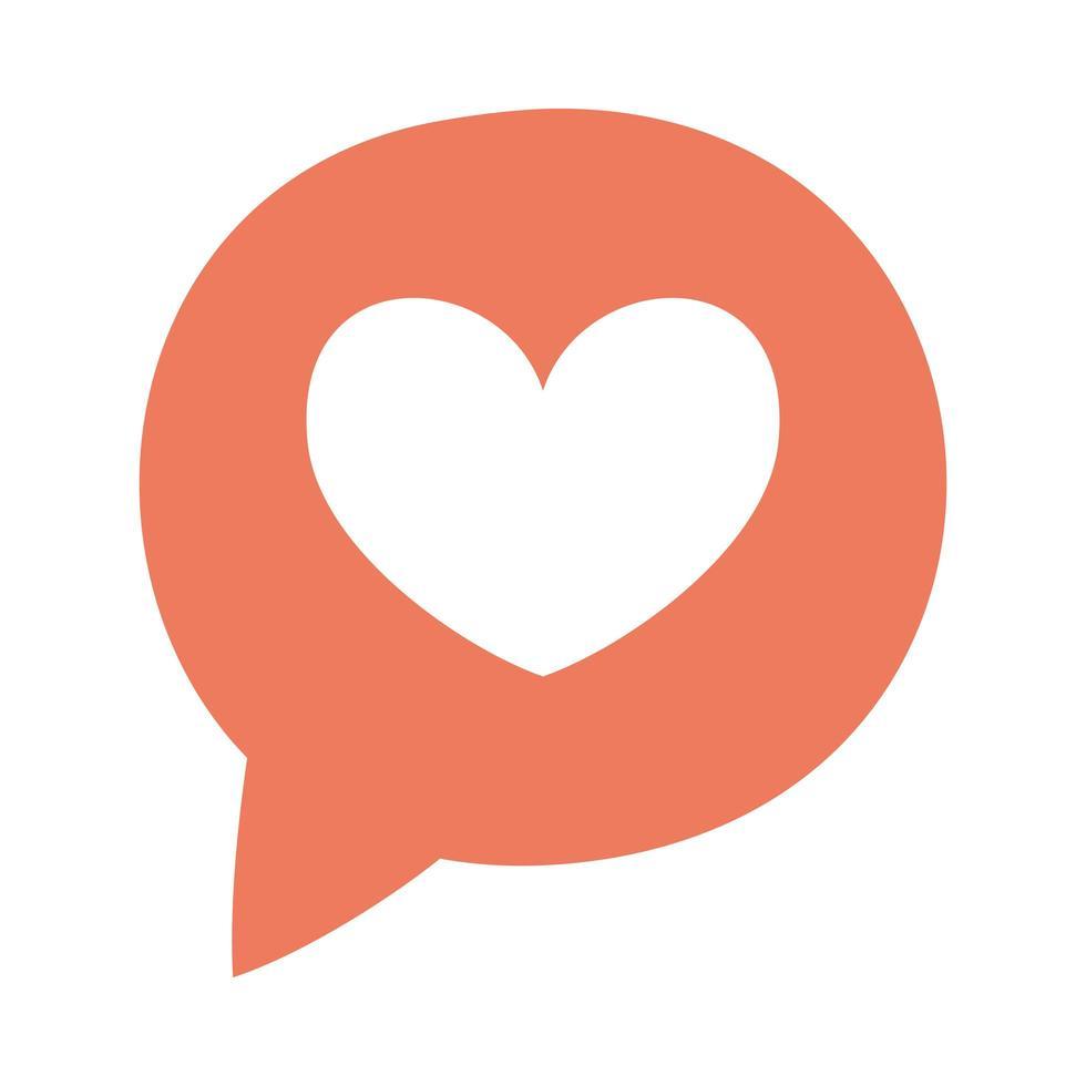 bulle de dialogue avec coeur médias sociaux vecteur