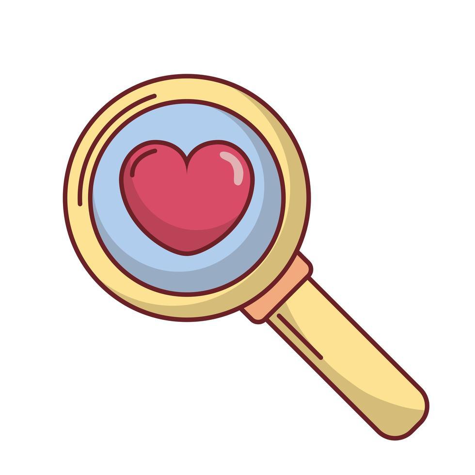 coeur d'amour à l'intérieur de la conception de vecteur de loupe