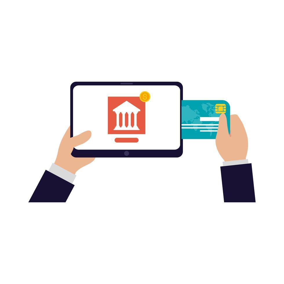 mains tenant la tablette pour faire des opérations bancaires avec la conception de vecteur de carte de crédit
