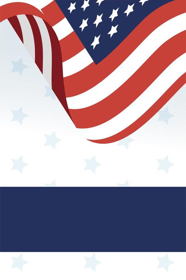 drapeau usa et conception de vecteur de cadre bleu