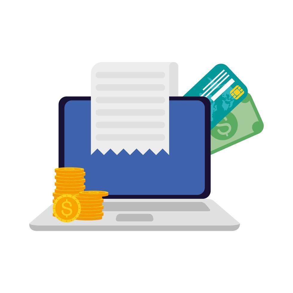 ordinateur portable avec pièces de monnaie, carte de crédit, factures et conception de vecteur de reçu