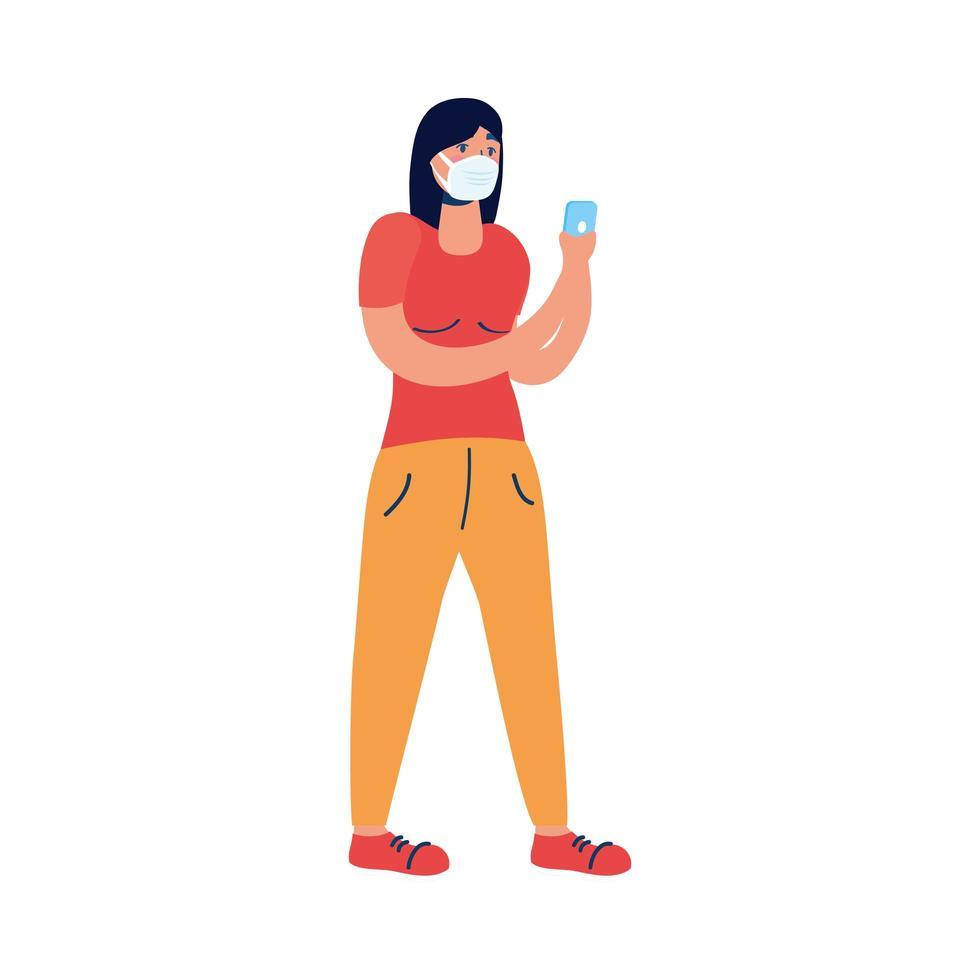 jeune femme, utilisation, masque médical, et, smartphone vecteur