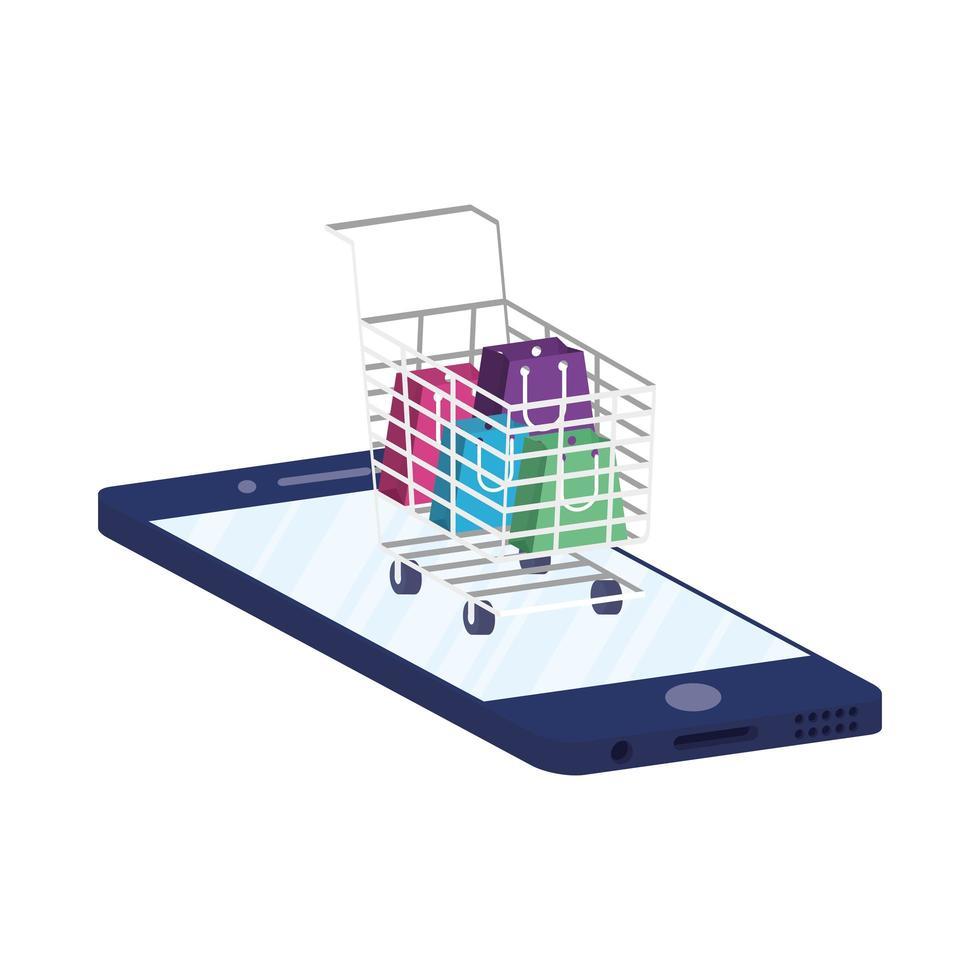 commerce électronique en ligne avec smartphone et panier vecteur