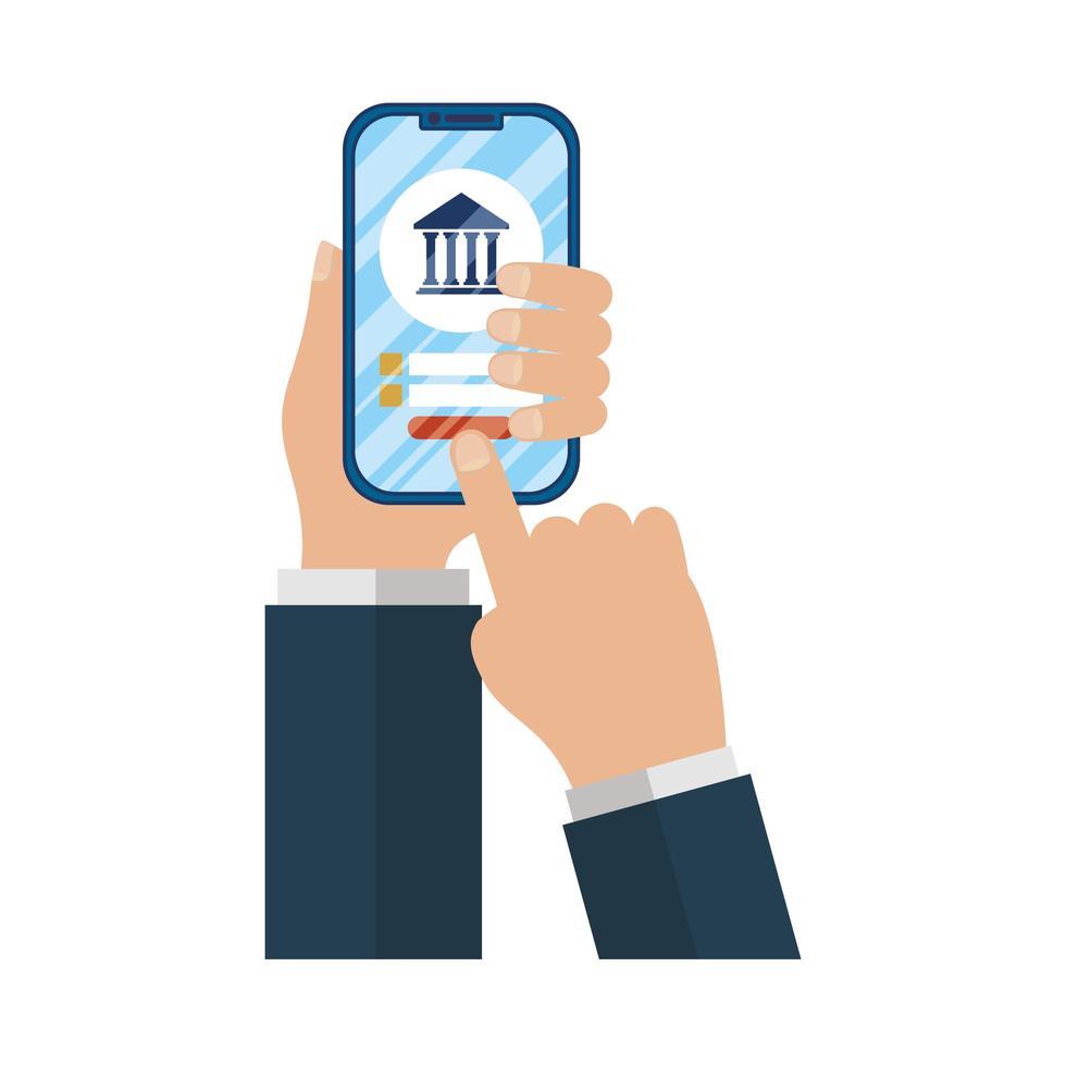commerce électronique en ligne, mains utilisant un smartphone pour effectuer des opérations bancaires en ligne vecteur
