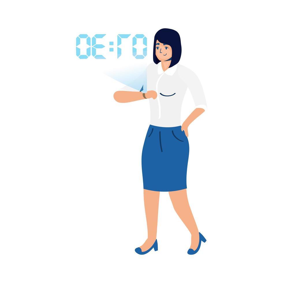 femme utilisant la technologie de réalité virtuelle sur smartwatch vecteur