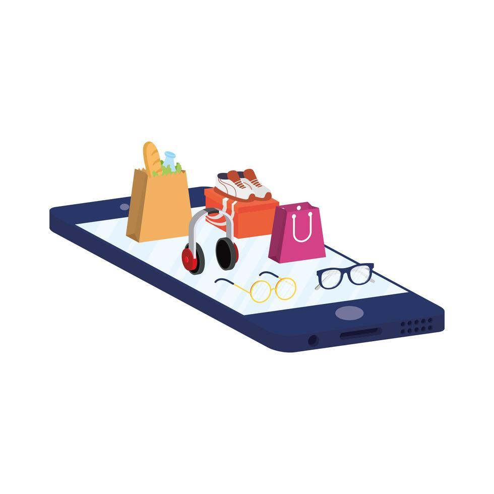 e-commerce en ligne avec smartphone achetant des accessoires de mode vecteur