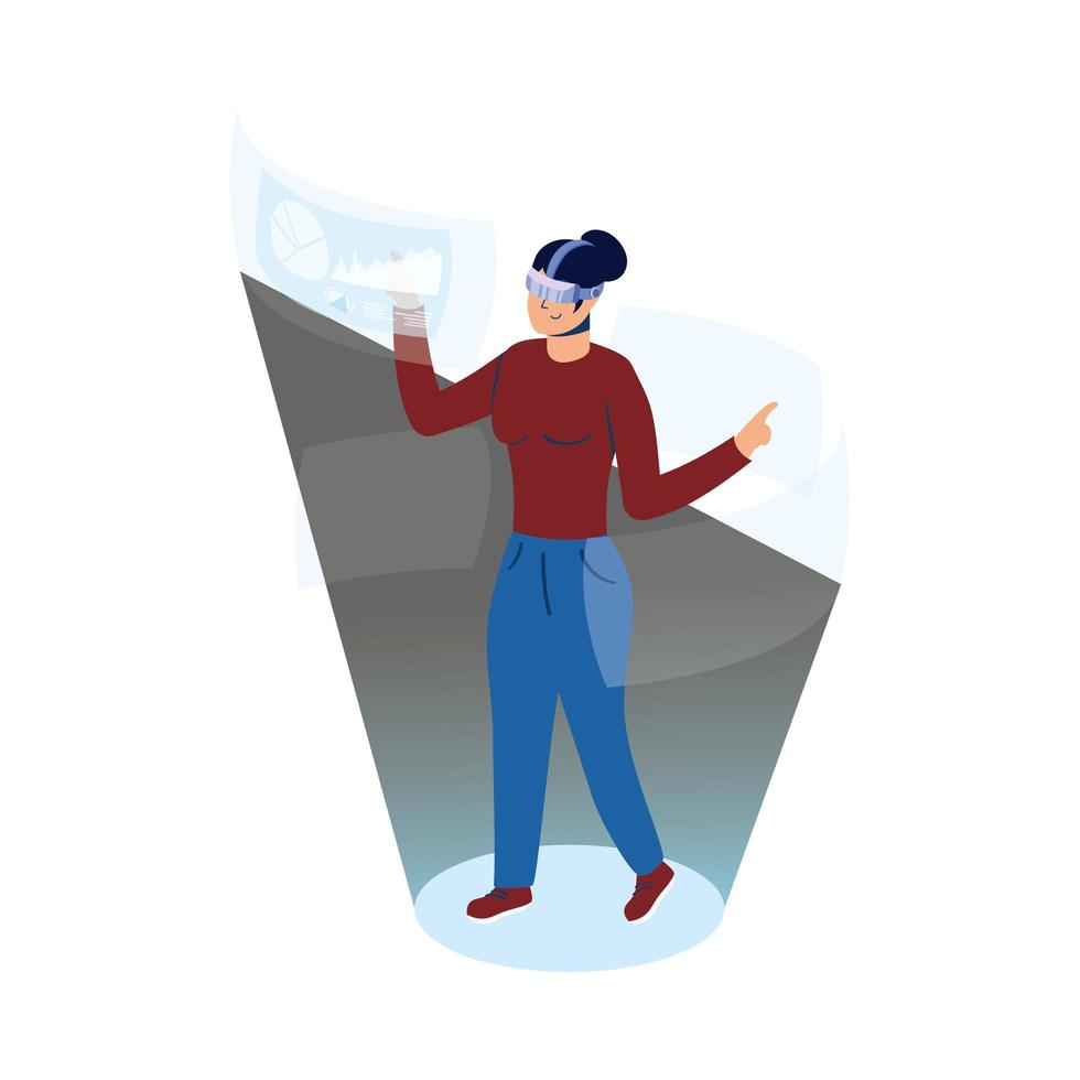 femme utilisant la technologie de réalité virtuelle en affichage interactif vecteur