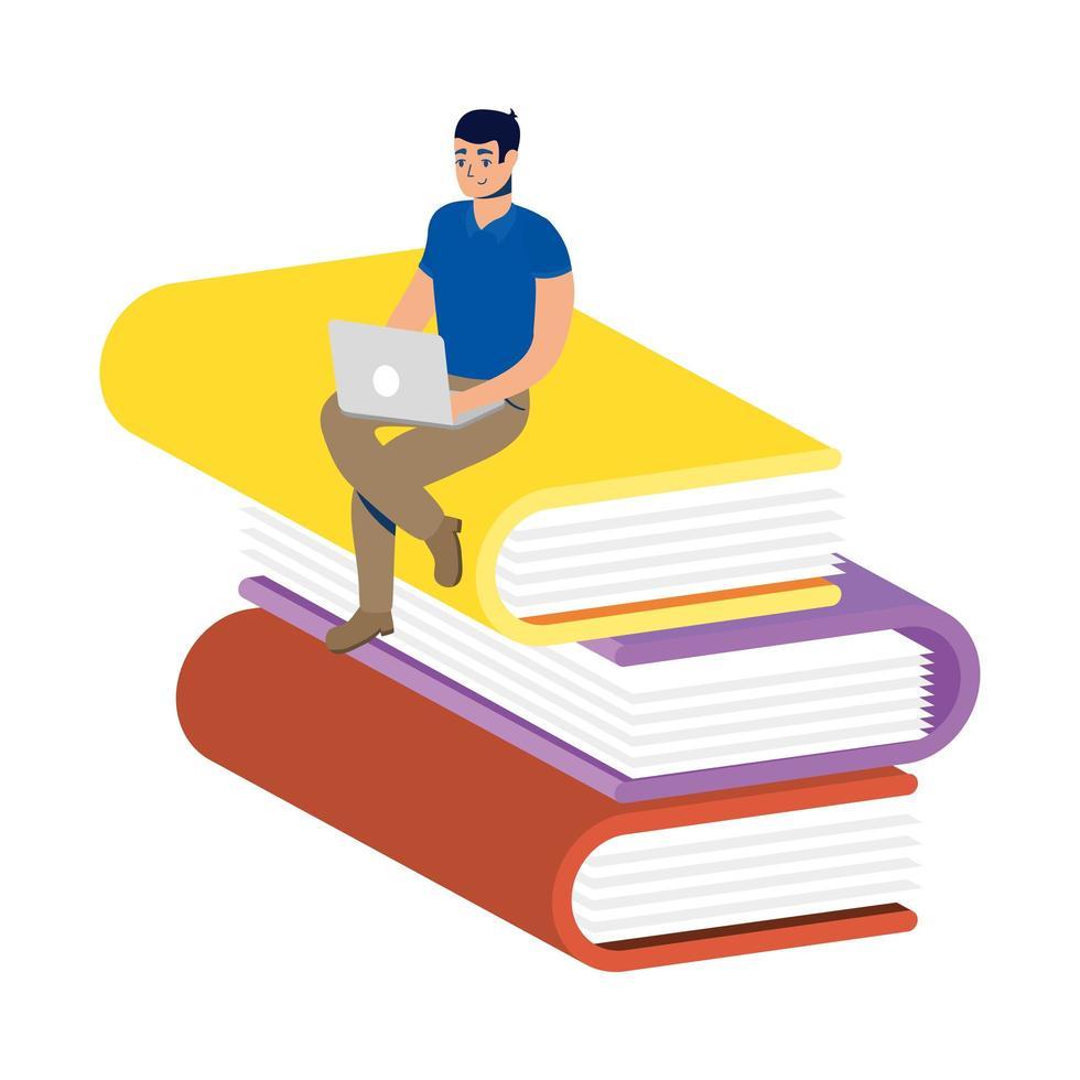 homme utilisant un ordinateur portable assis sur une pile de livres vecteur
