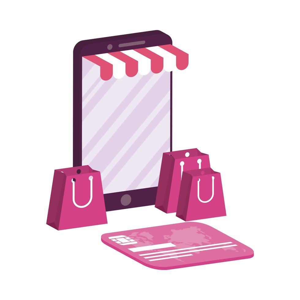 e-commerce en ligne avec smartphone et carte de crédit vecteur