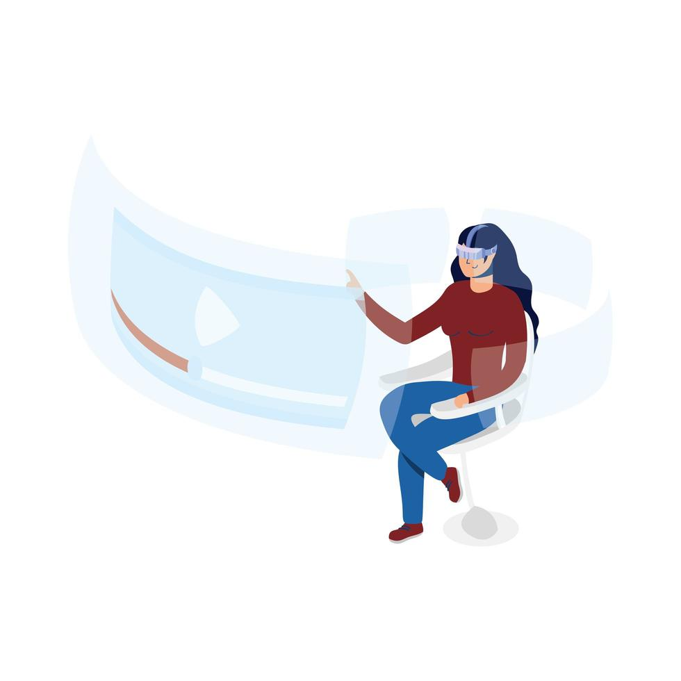 femme utilisant la technologie de réalité virtuelle dans une chaise avec écran interactif vecteur