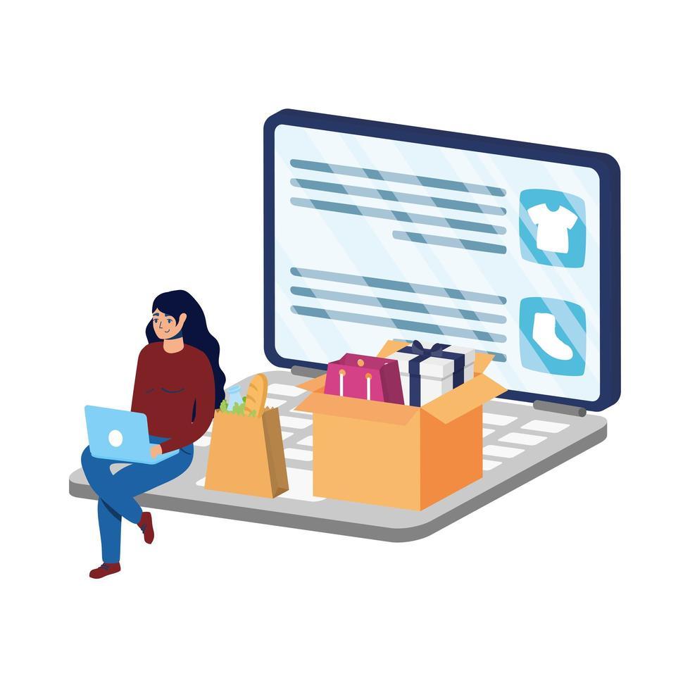 Commerce électronique en ligne dans un ordinateur portable avec une femme qui achète des vêtements vecteur