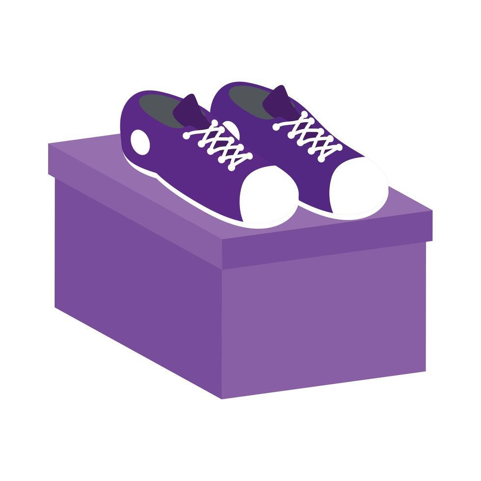 chaussures de tennis sur une boîte vecteur