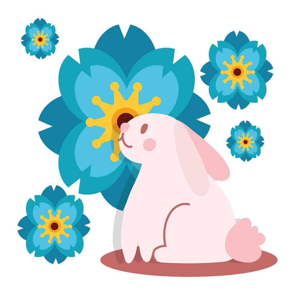 carte de festival mi automne avec icône de style plat lapin et fleur vecteur