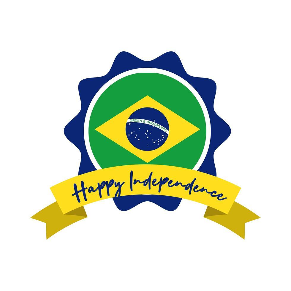 joyeux jour de l'indépendance carte du brésil avec style plat cadre drapeau et ruban vecteur